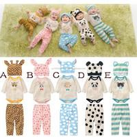 Bunny design baby clothes, Baby's cartoon designs 3pcs sest, Baby's animal designs romper, Panda design hat, MS-346