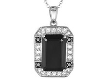 Emerald Cut And Round Black Spinel WithRound White Topaz Silver Pendant With Chain, Silver Solder Jewelry, Silver Jewelry Party