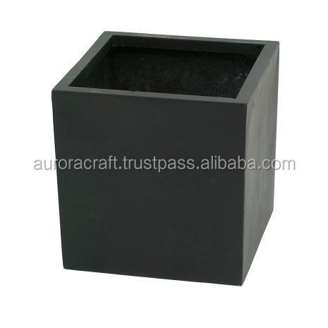 Polystone Cube Garden Planters Black.jpg