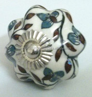Hand Painted India Ceramic Kitchen Cabinet Melon Knobs With Intricate Artwork