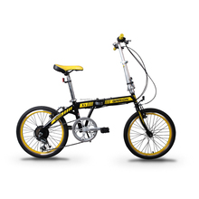 """GARION 20"""" Folding Bike Foldable Bicycle Black with Yellow"""