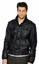 man's genuine leather jacketoverlay with knitted sleeve
