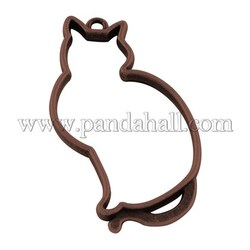 Tibetan Style Alloy Animal Pendants, Cat, Lead Free & Nickel Free, Red Copper, 52x27x3mm, Hole: 3mm