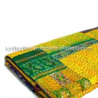 KTH-103 New indian silk Patola Saree Fabric Patch Work Quilts, sari print high print saree fabric Reversible Throw Gudri Ralli