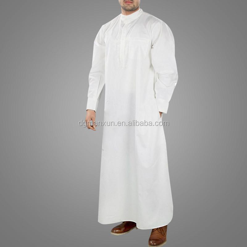 Wholesale High Quality Saudi Arabic Islamic Muslim Men White thobe (1).jpg