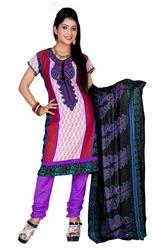 Variation Design Purple Printed Art Crepe Dress Material