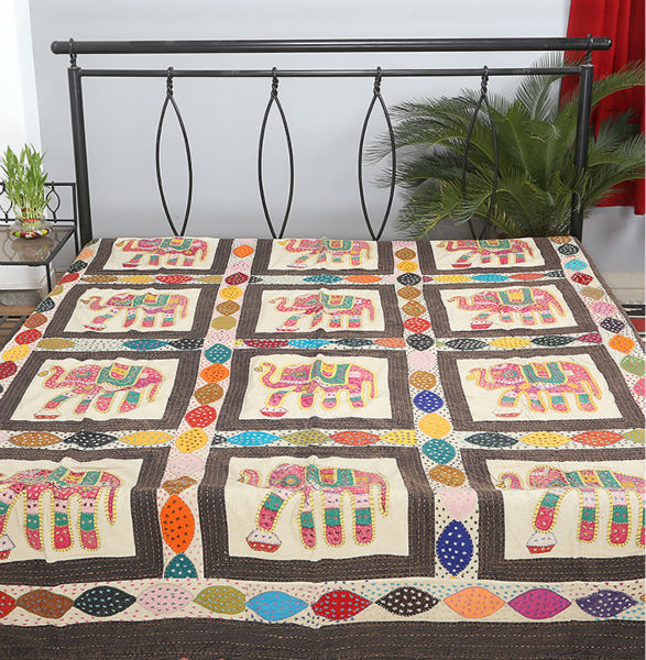 Patchwork colchas/cubrecamas indio mirada elefante diseño de hoja de ...