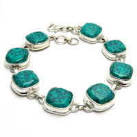 Trade Secret Square Turquoise 925 Sterling Silver Bracelet, Handmade Silver Jewelry, Sterling Silver Jewelry