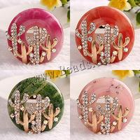 Resin Brooch Zinc Alloy with Resin Flat Round rose gold color plated with rhinestone mixed colors nickel lead & cadmium free 47