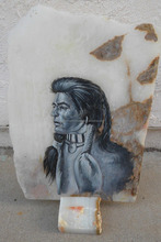 2015 Painting of American Navajo Indian Chief on Marble Slate