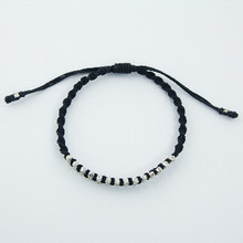 Antiqued Floral Faceted Silver Beads In Macrame Bracelet