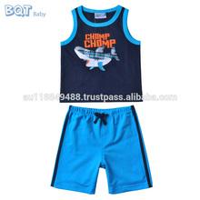 Precio de fábrica de algodón chain Chomp Shark impreso Shortless desgaste conjunto del regalo del bebé para niños
