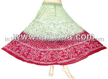 Femmes Gypsy coton jupe longue robe indienne, 100% coton tie dye jupes ( bandhej )
