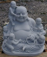 Happy Buddha with kids stone sculpture DSF-P112