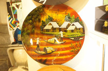 lacquer painting on plate high quality made in Vietnam