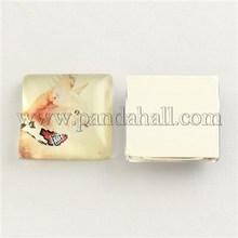 Cat Pattern Glass Square Cabochons, LightGoldenrodYellow, 20x20x5~6mm GGLA-S022-20mm-26B