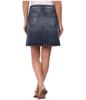 2015 high quality ladies short skirt pocket denim blue slive foil mini skirt