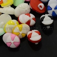 Acrylic Shank Buttons, 1-Hole, Dyed, Ball Cap, Mixed Color, 15x11x6mm, Hole: 3x2mm