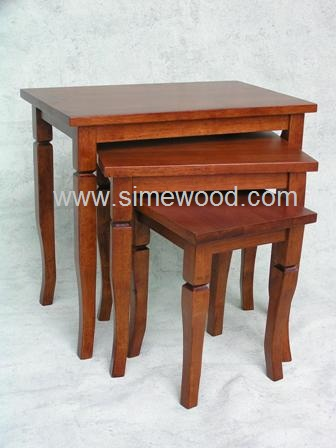 Solid wood nesting tables setcoffee tablesside tables for Real wood coffee table sets