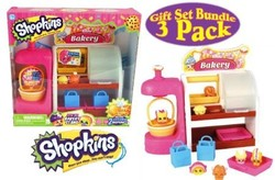 For New Shopkins So Cool Fridge, Spin Mix Bakery Stand and Easy Squeezy Fruit & Vegetable Stand Playsets Gift Set Bundle