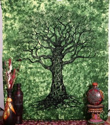 Hippie Indian Tree of Life Wall Hanging Tie Dye Queen Decorative Beach Sheet Bohemian Tree Tapestry