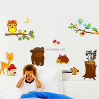 Wholesale New Fashion DIY Animal Squirre Animal Forest Tree Wall Stickers Art Vinyl Decal Removable Decor For Kids