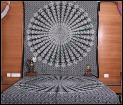 peacock feather mandala throw bedspread tapestry indian wallhanging ethnic hippy