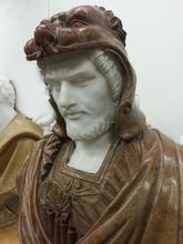 Marbre blanc et Brown Marble buste d'un guerrier italie Sculpture Statue Midieval