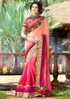 GORGEOUS PINK AND ORANGE HEAVY WEDDING GEORGETTE EMBROIDERY SAREE WITH HEAVY DESIGNER BLOUSE FOR LADIES