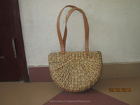 New produts! Eco-friendly water hyacinth handbag with leather handles, fashionable looking, cheap price, from Vietnam