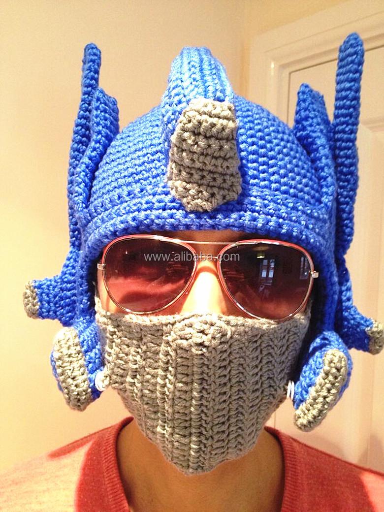 Funky Novelty Mens Hand Crochet Beanie Transformer Optimus ...