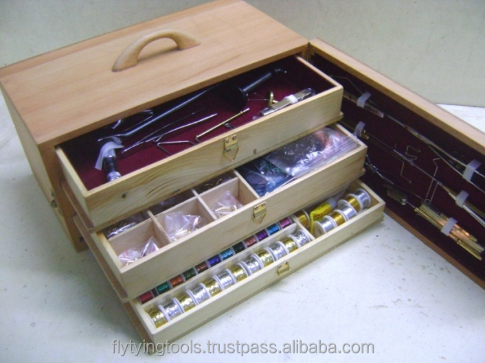 Fly fishing materials complete fly tying tools wooden for Fly fishing tying kit