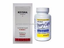 Ivory Caps Glutathione Pills Skin Enhancement Formula 60 Capsules + Keisha Brightening Vitamin C Body Milk 250ml Skin Lightening