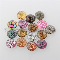 Animal Skin Printed Glass Cabochons, Half Round/Dome, Mixed Color, 14x5mm
