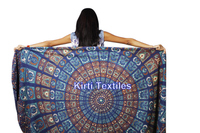 KT-571 Indian Mandala Tapestry Printed Hippie Wall Hangings handmade Peacock Designer printed tapestry