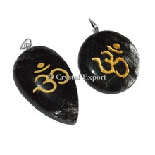 Black Rutile Om pendants : Wholesale Engraved Pendant