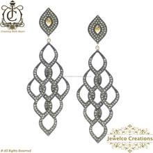 925 Silver Drop Earrings for Women, Pave Diamond Earrings Yellow Gold Jewelry, Wholesale Pave Diamond Earrings Jewelry
