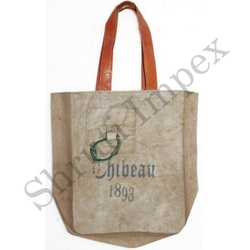 INDUSTRIAL HANDMADE INDIAN LOOK GYPSY VINTAGE 100% COTTON CANVAS & LEATHER HANDEL SHOPPING TOTE BAG SIB11