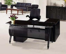 Executive table, glass top 12mm tempered glass With side table,office fur