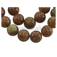 "Unakite Gemstone Beads Strands, Natural, Round, Colorful, 12mm in diameter, hole: 1.5mm, about 15~16""/strand GSR12MMC043-1"