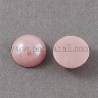 Glass Cabochons, Plated Pearlized, Half Round, Pink, 9x4mm GGLA-S020-9mm-04