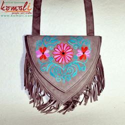 Multi Pocket Floral Design Sling Bag Genuine Split Suede Leather Hand Indian Embroidered Fashion Sling Bag - Neon Colors
