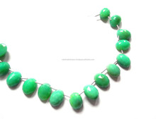 Top Quality Crocodile Green Calcidony Oval Rose Cut Side Drilled Loose Beads Strand