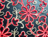 Floral Mesh Embroidery Lace Fabric/ Motif Indian Mesh Lace for Saree Sari design/ Flower design Mesh Fabric