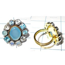 Faceted Multi Gemstone 925 Sterling Silver With Brass Two Tone Handmade Cluster Fancy Ring