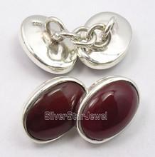 .925 Solid Silver RED CARNELIAN MODERNISTIC Cufflinks 1.4 CM BIRTHDAY PRESENT