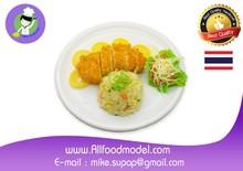 Fried rice, lemon chicken fake food