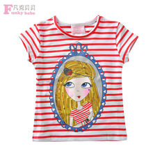 2015 Lastest Summer Style Junir Girls Cotton Stripe Custom Printing T Shirt