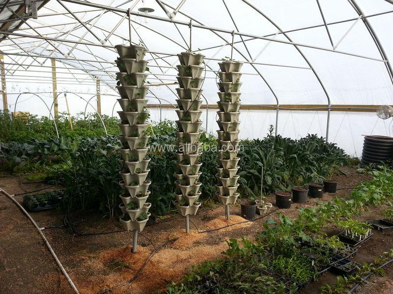 Vertical gardening planter pots plastic stackable garden