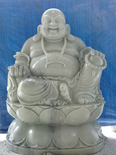 Laughing Buddha White Natural Marble Statues Stone Hand Carving Sculpture For Sale